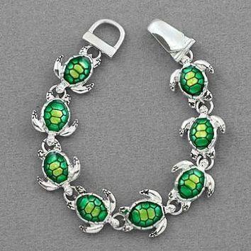Amazon.com: Silver Tone Green Turtle Tortoise Magnetic Clasp Charm Bracelet: Jewelry