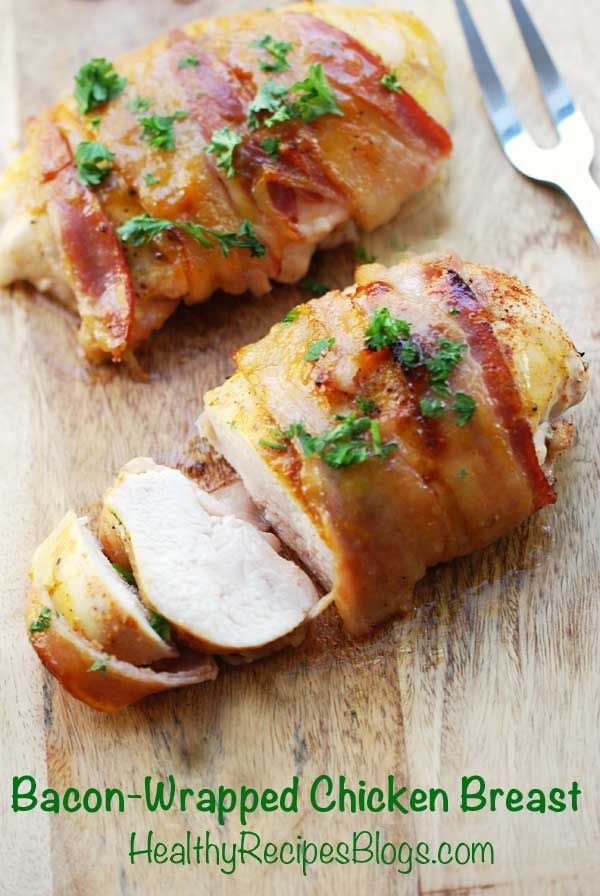 Bacon Wrapped Chicken Breast- Stuff it with Guacamole and this is a killer entree!