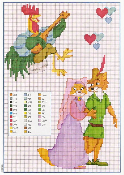 Disney Robin Hood rooster Maid Marion