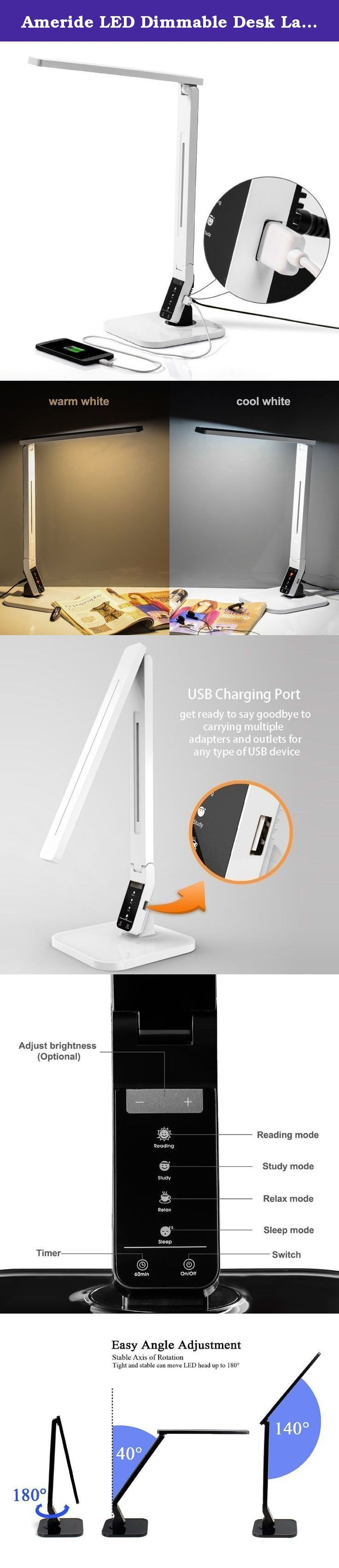 Ameride LED Dimmable Desk Lamp White, 4 Lighting Modes: Reading/Studying/Relaxation/Bedtime, 5-Level Dimmer, Touch-Sensitive Control Panel, 1-Hour Auto Timer, USB Charging Port. Ameride LED Dimmable Desk Lamp White · Adapter UL Listed , Extra long life chips up to 50,000 hours · The modern stylish desk lamp has 4 lighting modes and 5 levels of brightness, adjustable to your wish · Save energy up to 80% with much lower power bill · 1 Hour auto-off timer & USB port for charging your smart...