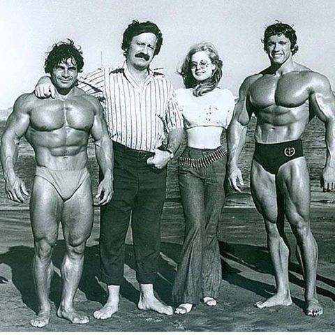 Franco & Arnold with Bettie and Joe Weider. A Rare Pic