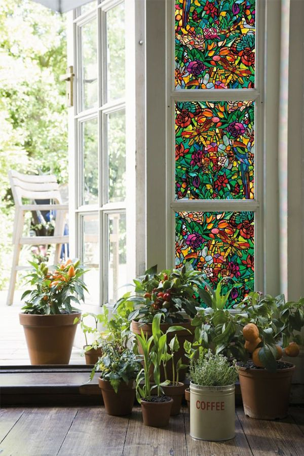 Dress Up Your Windows With Decorative Privacy Film Allowing For Natural Light While Reducing Visibility From Stained Glass Window Film Window Film Diy Window