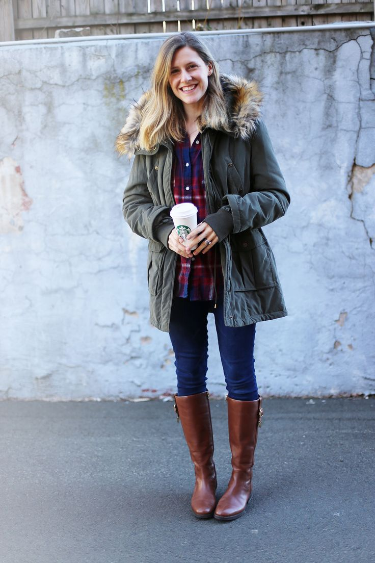 Faux fur trim parka and riding boots outfit idea