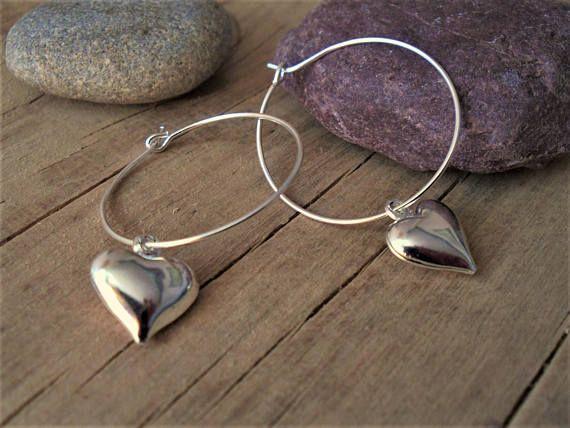 Silver Heart Hoop Earrings Minimal Silver Hoops Everyday