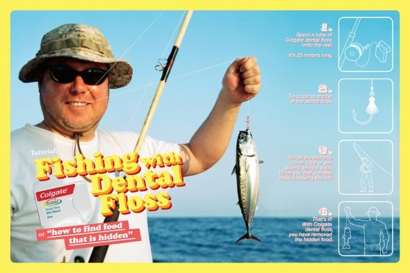 Colgate Dental Floss: Fishing with dental floss, 2