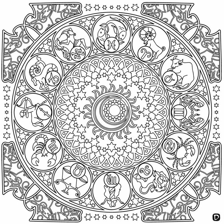 zodiac mandala coloring pages coloring page. Black Bedroom Furniture Sets. Home Design Ideas