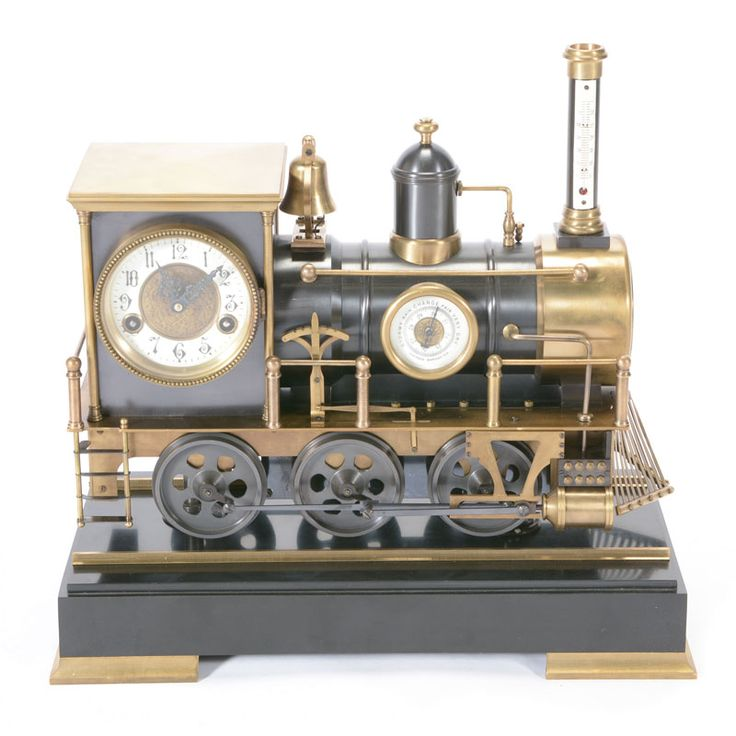 French #Automaton Copper Locomotive Industrial Clock Fitted with Thermometer on Chimney and a Barometer on Steam Engine #michaans #auctions http://www.michaans.com/french-automaton-locomotive-clock-auction/