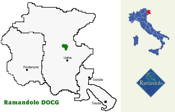 Zona di produzione e Logo del Consorzio per la Tutela del vino Ramandolo DOCG