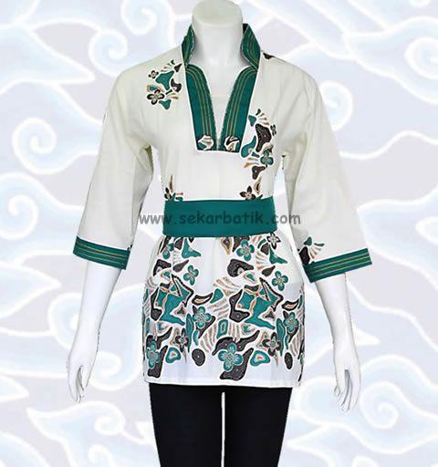 baju blus batik kerja wanita modern putih BB28 di katalog http://sekarbatik.com/blus-batik/