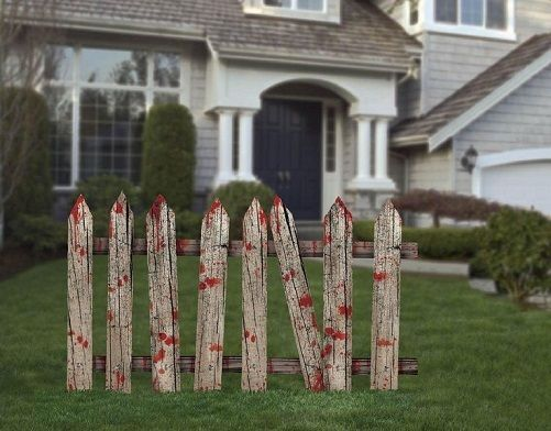 Outdoor halloween fence bloody party decorations scary fences lawn haunted house