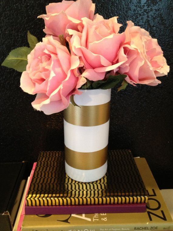 White  Gold Vase… Spray Paint White. Dry. Tape and spray paint gold! Chic.