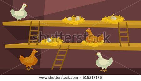 Hen house with chicken. Vector flat cartoon illustration