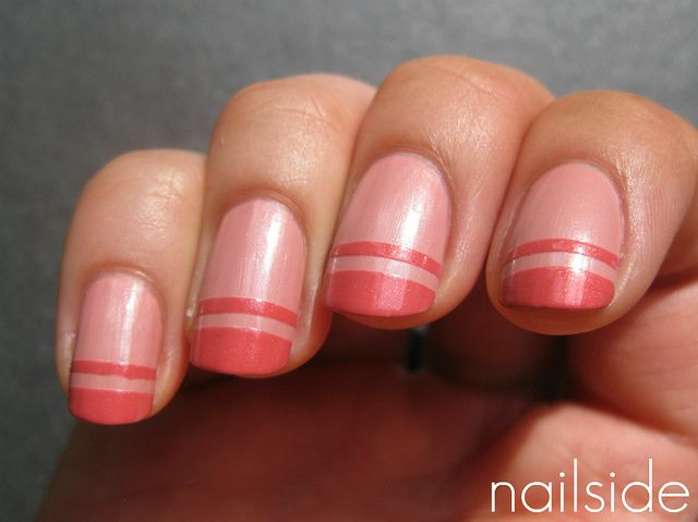 Cute funky FrenchPink French Manicures, Funky French, Pink Nails Art, Nails Design, Nailart, Beautiful, Pretty Nails, French Tips, Stripes
