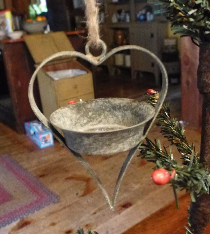Primitive Hanging Heart Tea Light Holder #CTW #Heart