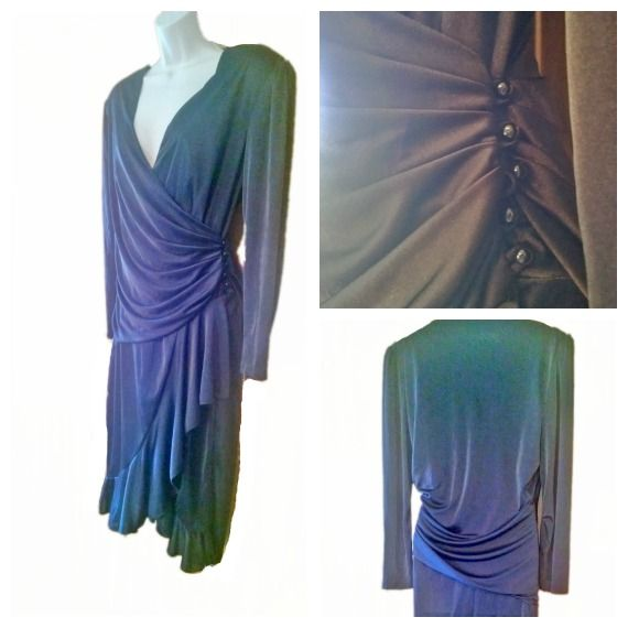$32.99 1/2 off Iconic 1970s Dress,1940s inspired, Black Jersey Side Button Wrap Style, Size 12 in Excellent Condition. For 50% off use code 50OFF