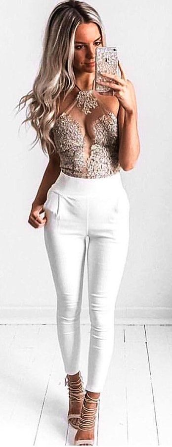 #spring #outfits  Sparkle Mesh Top + White Skinny Pants + Beige Lace-up Sandals 🖤