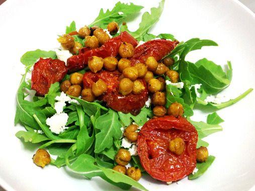 Arugula Salad with Roasted Tomatoes, Chickpeas and Feta recipe