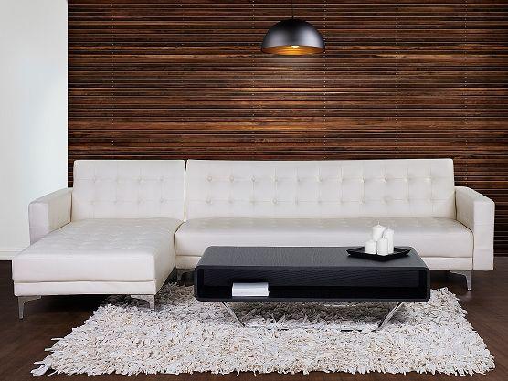 Sofa kremowa - kanapa - skórzana - rozkładana - narożnik - ABERDEEN