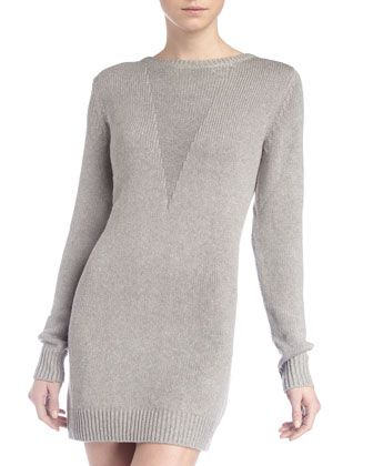 Silk-Blend Knit Sweater Dress, Heather Gray by T by Alexander Wang at Last Call by Neiman Marcus.