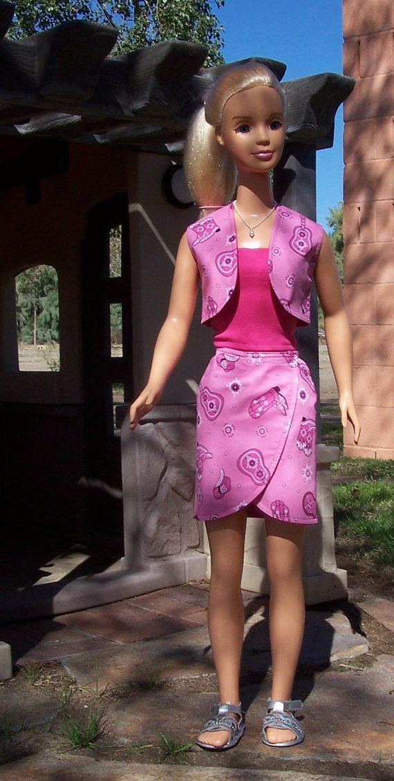 My Size Barbie Pink Bandana Reversible Vest Skirt by SewDollyCute, $25.00
