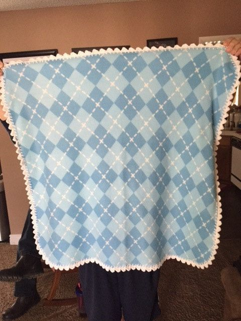 Fleece and Crocheted Baby Blanket and Burp Cloth by dianniashouse