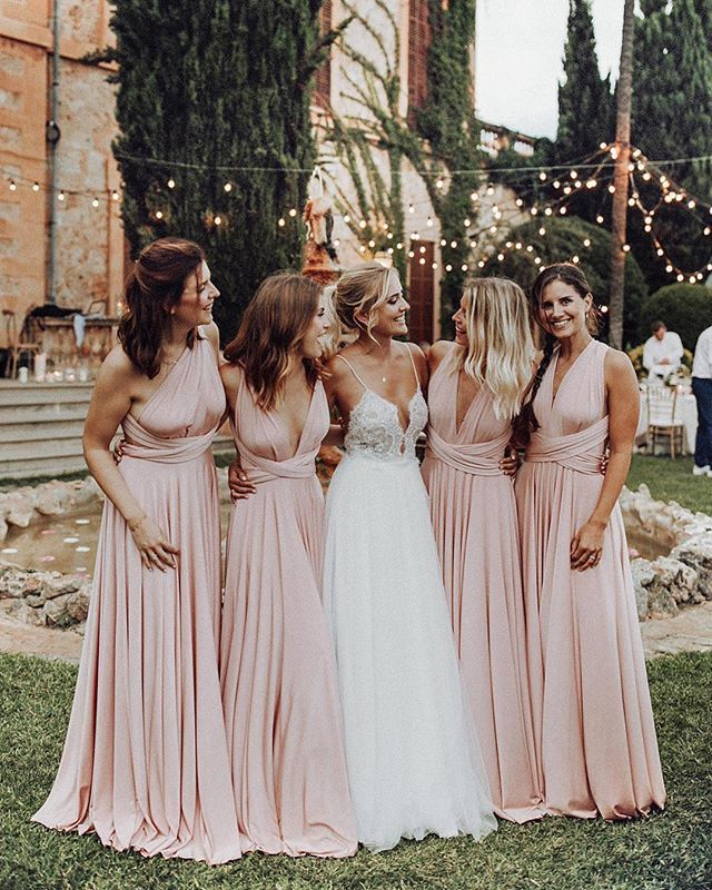 Elegant A Line V Neck Elastic Satin Pink Pleats Long Bridesmaid Dresses f93b27f716be
