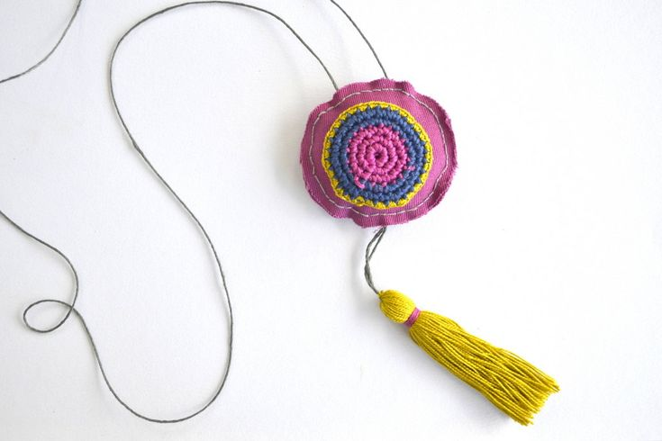 Long tassel necklace, boho long necklace, textile jewelry, crochet pendant necklace, neon pink yellow, bohemian jewelry, tribal colorful - pinned by pin4etsy.com
