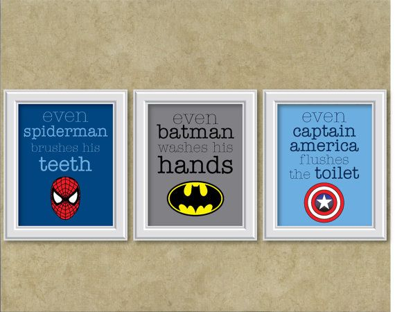 Superhero Theme Wall Art Prints  Set of 3 by pintsizedbee on Etsy, $40.00. Just bought these cuties for the boys bathroom