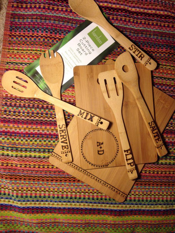 Wood Burning DIY bamboo cutting board and spoon set!