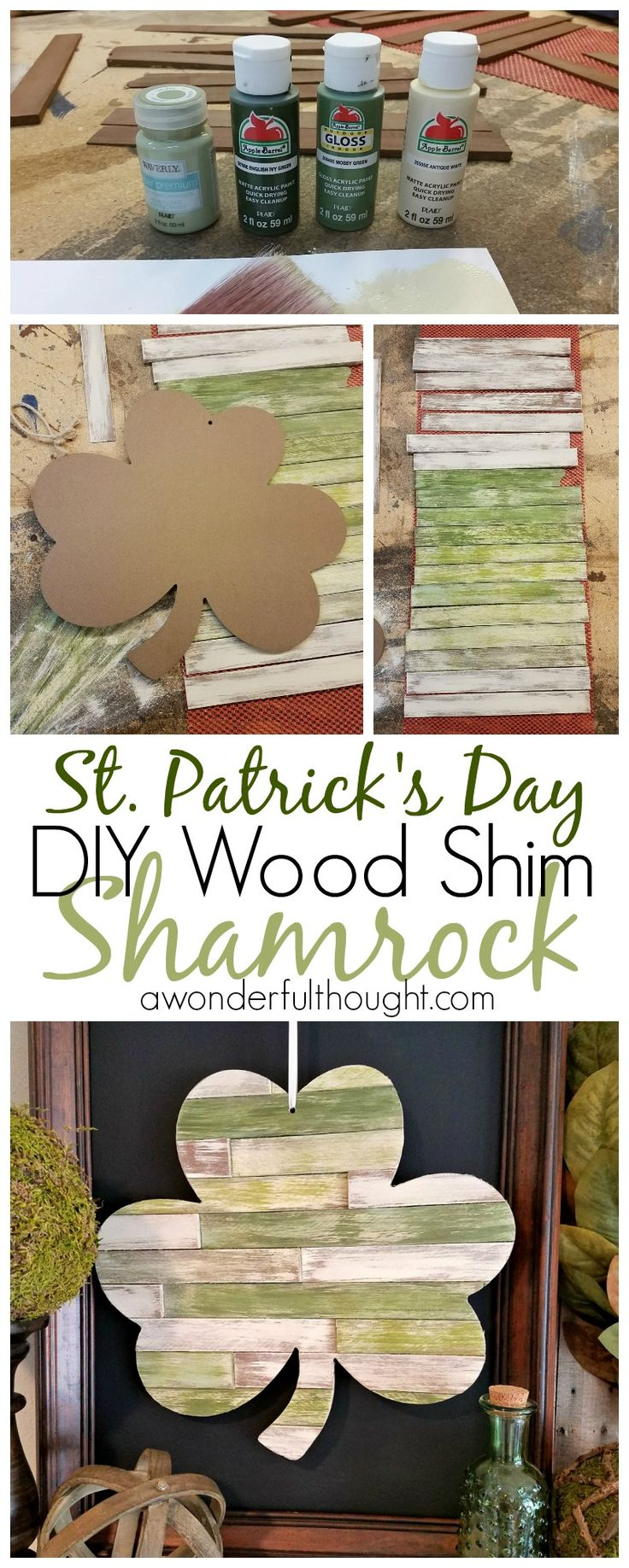 Here is a great tutorial to make a DIY Wood Shim Shamrock. This is perfect for St. Patrick's Day decoration. | awonderfulthought.com