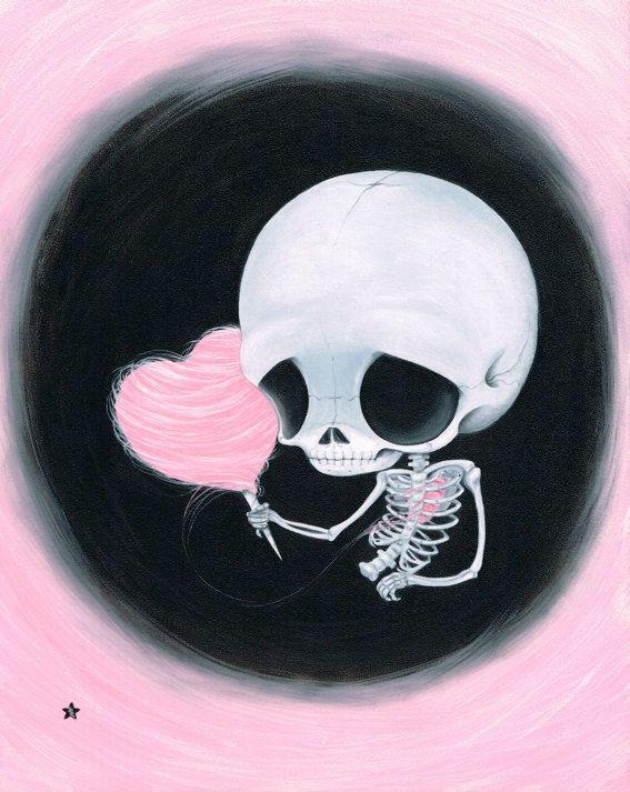 Zucker angeheizt Skelett Cotton Candy Herz von Sugarfueledart