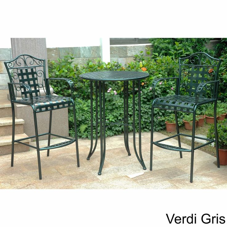International Caravan Mandalay Outdoor Iron Bar Bistro Set (Set Of 3)  (Antique Black), Patio Furniture