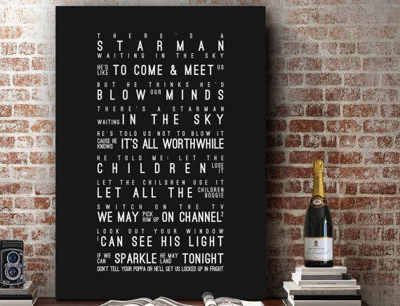 David Bowie Starman Lyrics Love Song Wall Art Song by VelvetPrint