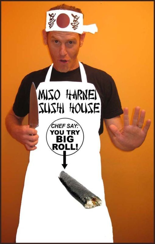 Funny Adult Costume Sushi Chef Miso Harnei Chef Say You Try Big Roll Halloween | eBay