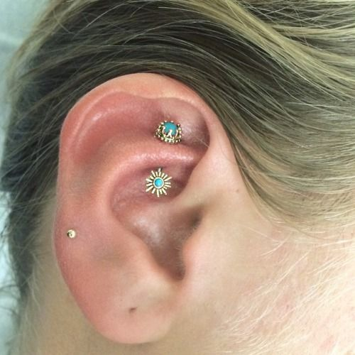 Rook piercing by Courtney Jane Maxwell of Saint Sabrinas. Jewelry by BVLA.