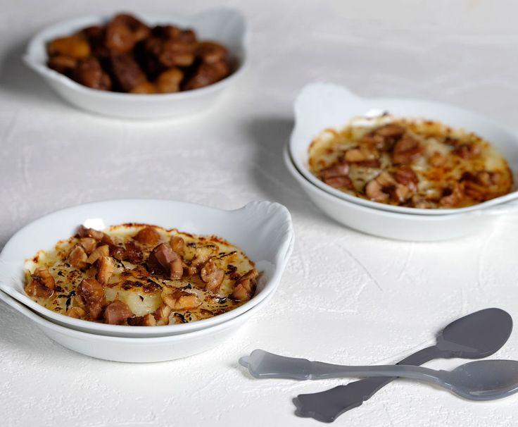 Alain Passard : gratin d'oignons doux des Cévennes au parmesan et châtaignes