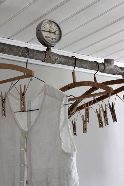 Love this idea  Industrial clothing rack