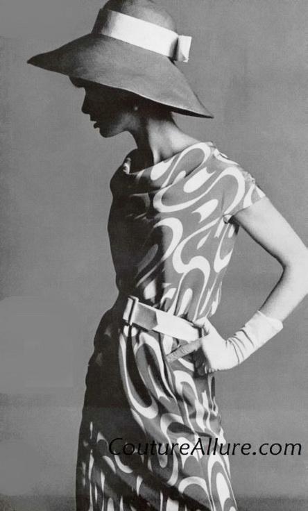Guy Laroche silk dress in a pop-art swirl print. 1965