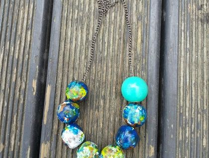 Hand painted reclaimed wooden beads - Statement Necklace  https://cherryberry.felt.co.nz