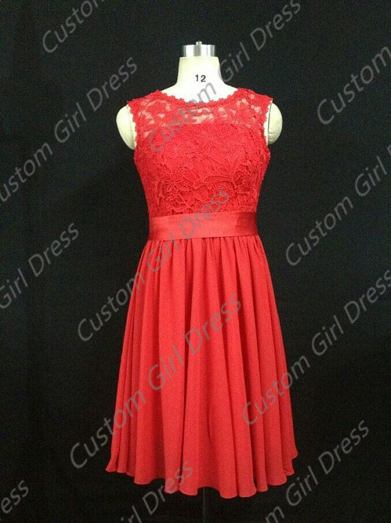 red chiffon Lace short dress Zip on the back Pleats Ruching Ball gown Formal Dress Wedding/Bridesmaid/Fashion/Evening/Prom/Homecoming Dressg