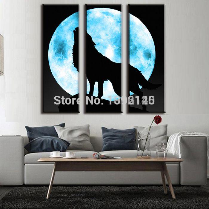 Современная Живопись Маслом Гостиная Украшения Полная Луна С Одинокий Волк Картины На Холсте Декоративного Рисунка