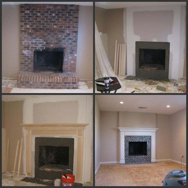 Brick fireplace makeover before during after - Tile over brick fireplace ...