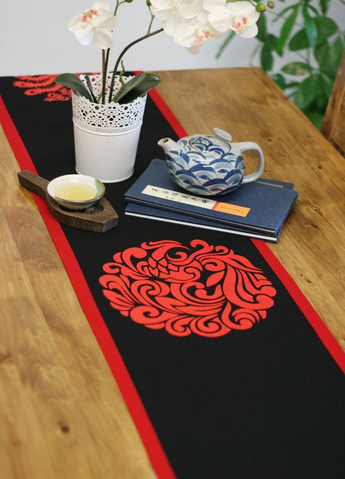 eco friendly asian style home decor linencotton black red phoenix potholder table - Home Decor Phoenix