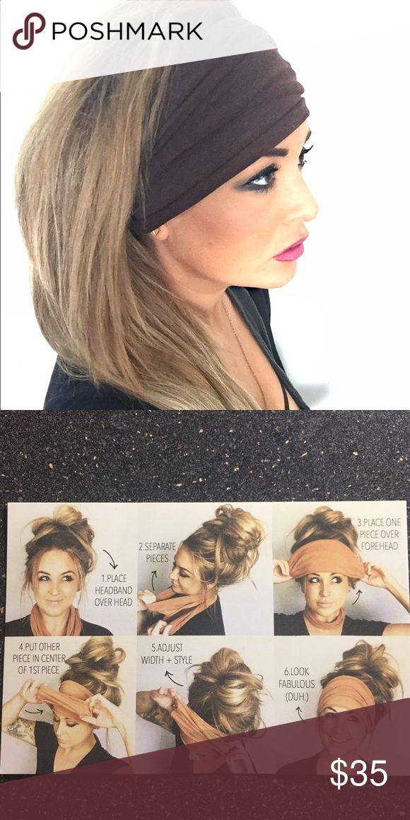 Extra Wide Headband With Two Layers. Wine/Burgundy color. Second pic shows how to wear it. Brand new. Accessories Hair Accessories