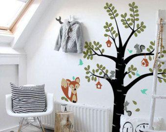 Etiquetas de la pared de los niños, amigos de Fox lindo y el árbol - niños vinilo pared Sticker Decal Set