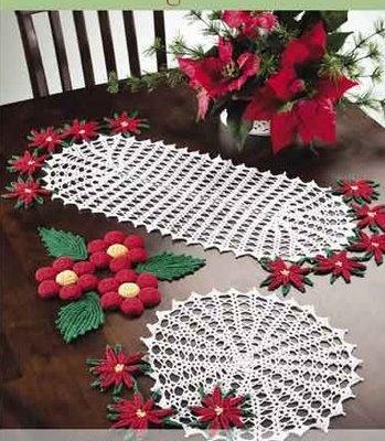 Ganchillo con flores de navidad