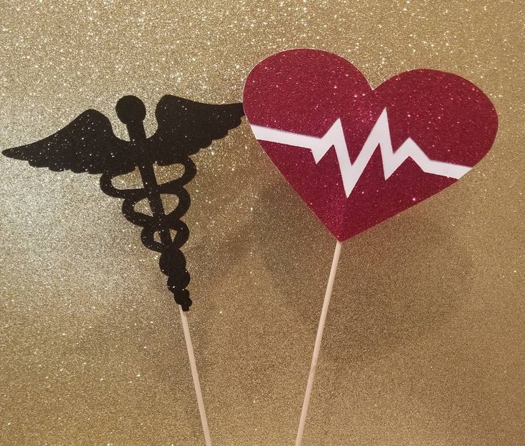 You choose Color! Nurse Medical Centerpiece Sticks Picks Toppers Set of 2 Medical School Graduation Party Table Decor Heartbeat Caduceus