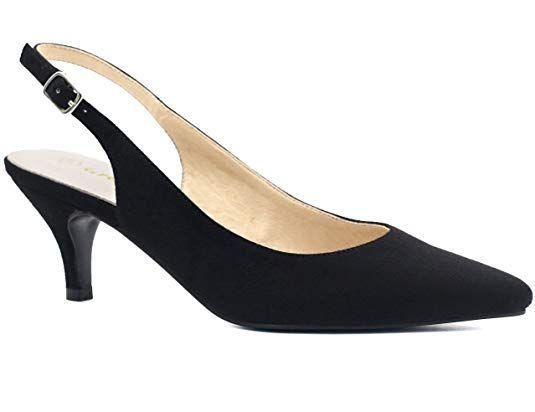 78c0571323e7e Greatonu Womens Black Leather Insole Pointy Toe Dress Slingback Pump ...