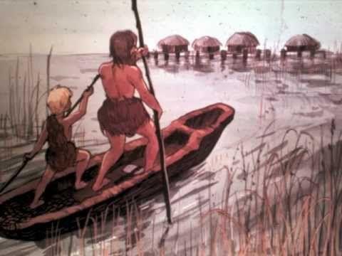 Bildserie om hur människorna bodde och levde under yngre stenåldern, andra delen. Producerad av Pogo Pedagog 1969.