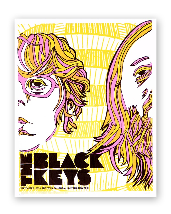 Black Keys poster. Trippy 70s style illustration idea. Just imagine those Joey and Caro curls..